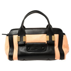 Chloe Beige/Black Leather Alice Satchel Bag