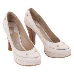 Chloe Beige Bone Leather Classic Pumps Heel Shoes Wood Heels 38.5