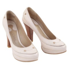 Chloe Beige Bone Leather Classic Pumps  Heel Shoes Wood  Heels Sz 38 1/2