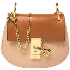Chloe Beige/Brown Leather Small Drew Shoulder Bag
