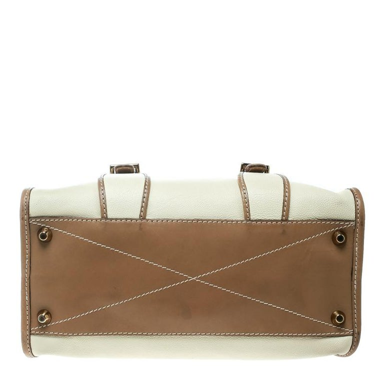 5a3f993895c2e Chloe Beige/Brown Leather Susan Top Handle Bag For Sale at 1stdibs