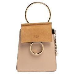 Chloe Beige Leather and Suede Mini Faye Crossbody Bag