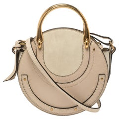 Chloe Beige Leather and Suede Pixie Round Crossbody Bag