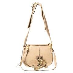 Chloe Beige Leather Flap Shoulder Bag