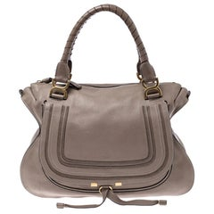 Chloe Beige Leather Large Marcie Satchel