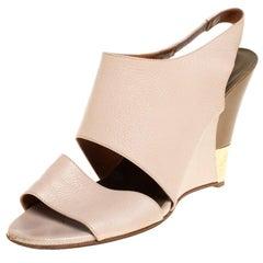 Chloe Beige Leather Wedge Slingback Sandals Size 39