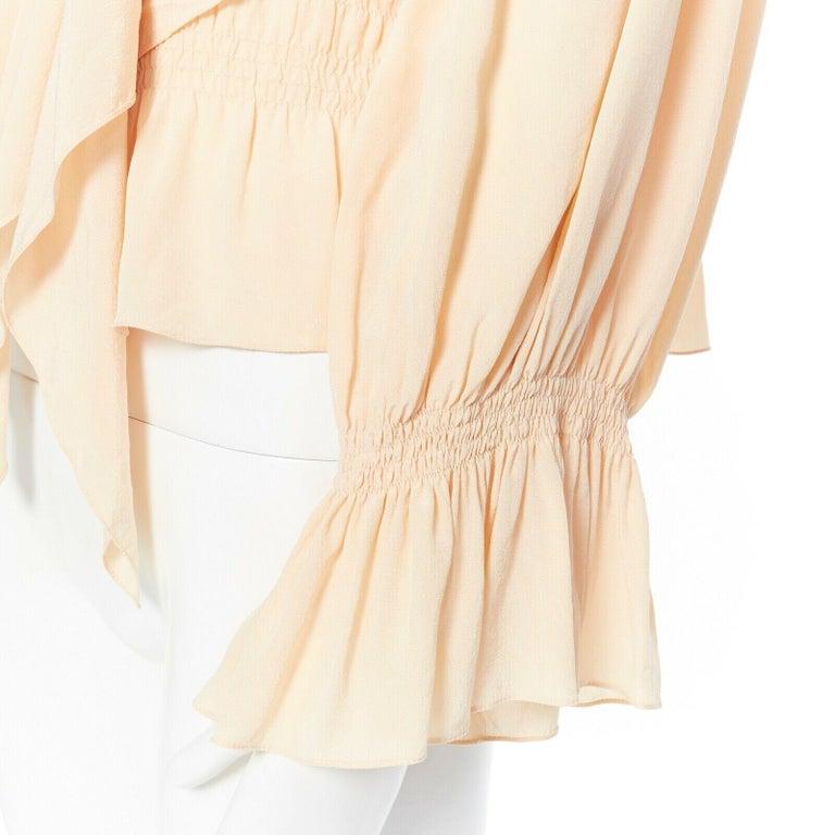 CHLOE beige nude crepe de chine silk blouse pleat smock