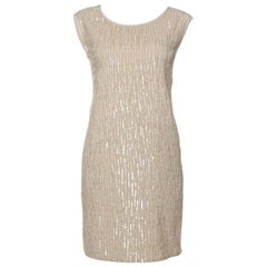 Chloe Beige Sequin Embellished Silk Sleeveless Shift Dress M