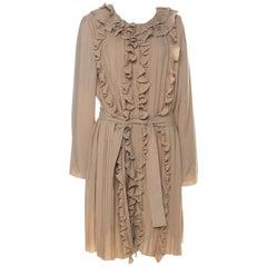 Chloe Beige Silk Blend Belted Front Ruffle Full Sleeve Pleated Long Dress L