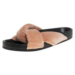 Chloe Beige Velvet Nolan Flat Slide Sandals Size 39