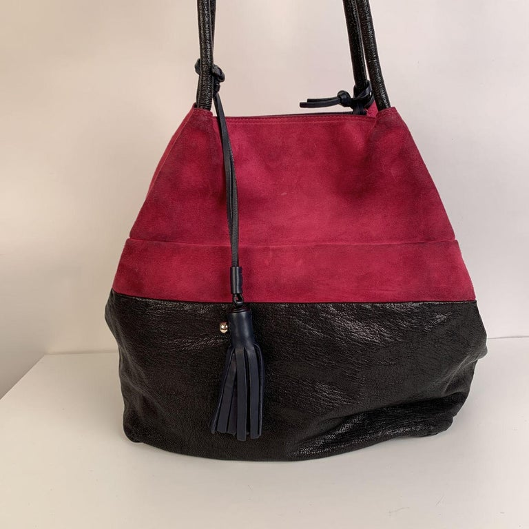 Women's Chloe Bicolor Color Block Suede and Leather Large Tote Bag For Sale
