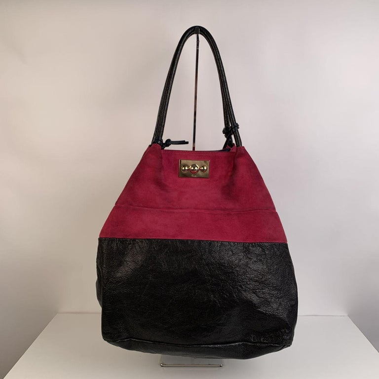 Chloe Bicolor Color Block Suede and Leather Large Tote Bag For Sale 3