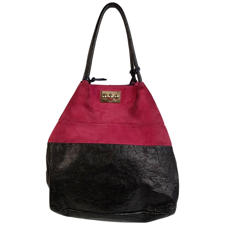 Chloe Bicolor Color Block Suede and Leather Large Tote Bag For Sale
