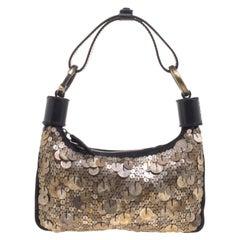 Chloe Black and Metallic Sequin Embellished Shoulder Bag