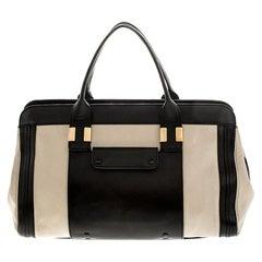 Chloe Black/Beige Leather Alison Satchel