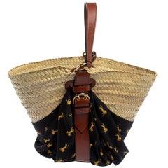 Chloe Black/Beige Raffia Medium Basket Bag