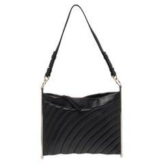 Chloe Black/Blue Quilted Leather Metal Roy Shoulder Bag
