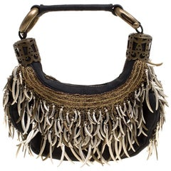 Chloe Black Canvas Embellished Crescent Hobo