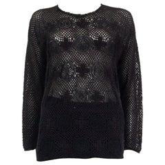 CHLOE black cotton CROCHET Long Sleeve Shirt Top XS
