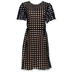 Chloe Black Cotton Eyelet Lace Scalloped Sheath Dress M