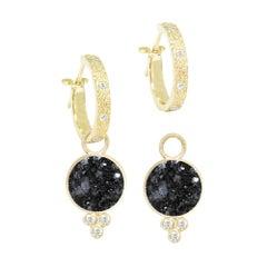 Chloe Black Druzy 18 Karat Gold Earrings