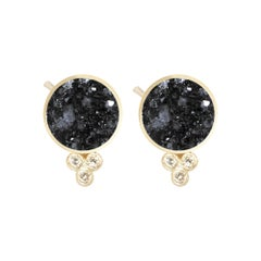 Chloe Black Druzy 18 Karat Gold Stud Earrings