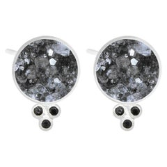 Chloe Black Druzy Silver Stud Earrings