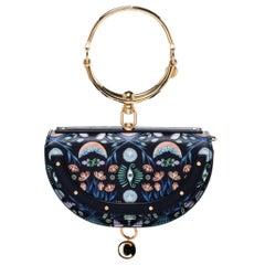 Chloe Black Floral Print Leather Small Nile Bracelet Minaudiere Crossbody Bag