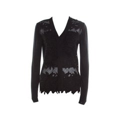 Chloe Black Knit Floral Lace Panel Long Sleeve Button Front Cardigan S