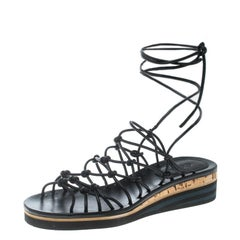 Chloe Black Knotted Leather Ankle Wrap Cork Platform Sandals Size 36