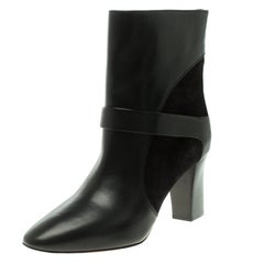 Chloe Black Leather and Suede Ankle Boots Size 39