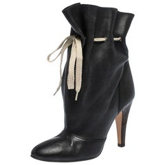 Chloe Black Leather Ankle Length Booties Size 37.5