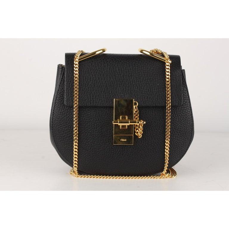 Women's Chloe Black Leather Drew Crossbody Messenger Bag