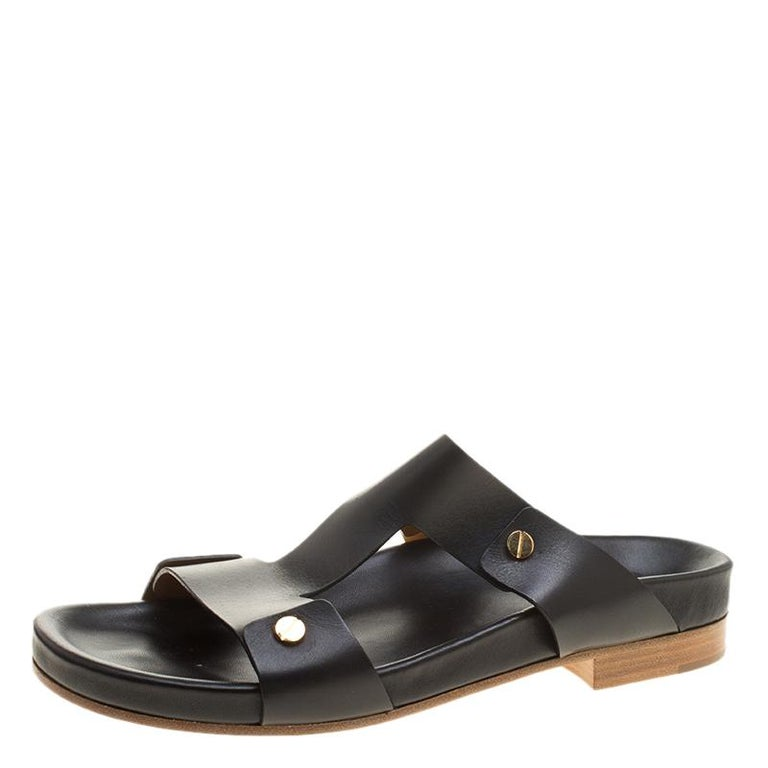 6e1cec078ad Chloe Black Leather Erika Slip On Flat Sandals Size 41 For Sale at ...