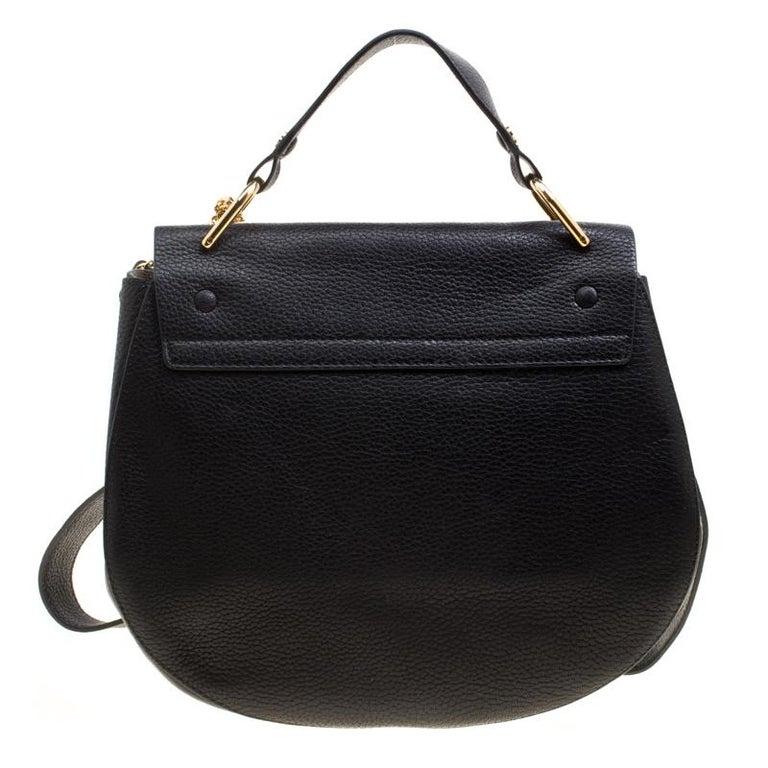 Chloe Black Leather Large Drew Shoulder Bag For Sale At