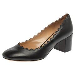Chloe Black Leather Lauren Scallop Trim Block Heel Pumps Size 37