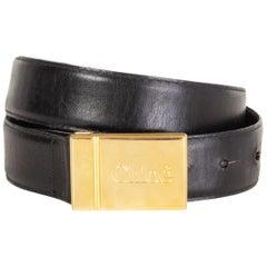 CHLOE black leather LOGO BUCKLE Belt 70