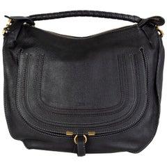 CHLOE black leather MARCIE LARGE HOBO Shoulder Bag