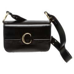 Chloe Black Leather Medium C Double Carry Bag