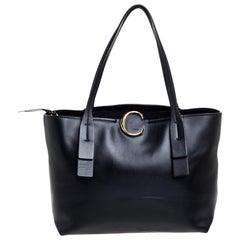 Chloé Black Leather Medium C Zipped Tote