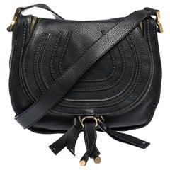 Chloe Black Leather Medium Marcie Crossbody Bag
