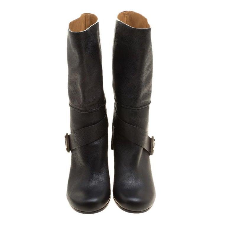 Chloe Black Leather Mid-Calf Buckle Boots Size 37 In Good Condition For Sale In Dubai, Al Qouz 2