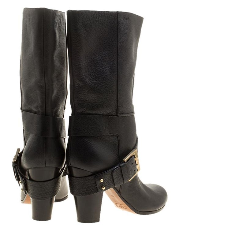 Women's Chloe Black Leather Mid-Calf Buckle Boots Size 37 For Sale