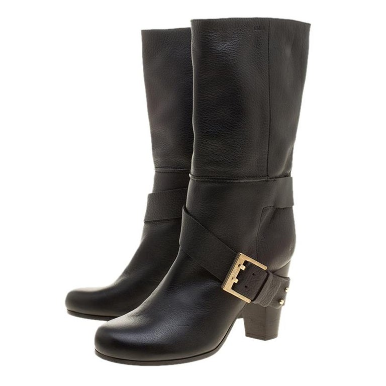 Chloe Black Leather Mid-Calf Buckle Boots Size 37 For Sale 1