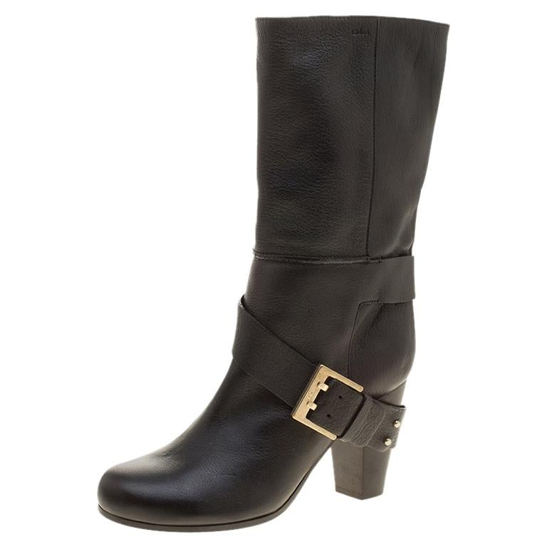 Chloe Black Leather Mid-Calf Buckle Boots Size 37 For Sale