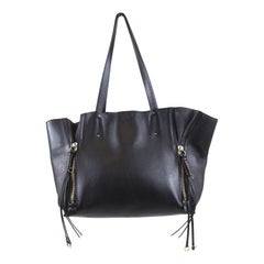 Chloe Black Leather Milo Large Tote Bag with Gold Zipper Accents and Tassels
