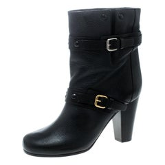 Chloe Black Leather Prince Mid Calf Boots Size 39