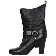 Chloe Black Leather Short Boots sz 40