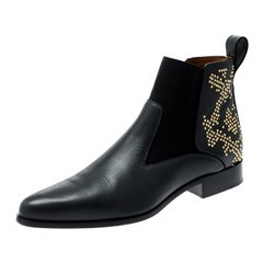 Chloe Black Leather Studded Ankle Boots Size 40