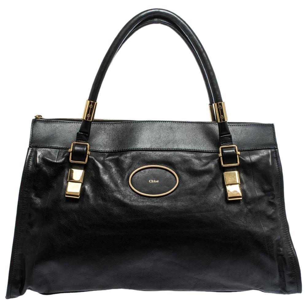 Chloe Black Leather Top Zip Tote